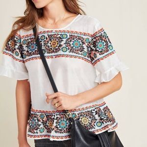 New Anthropologie Mariana Embroidered White Top